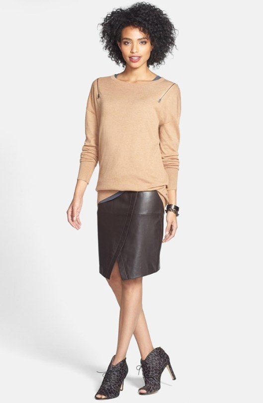 Halogen Seamed Leather Pencil Skirt Original: $248 Sale: $164.90